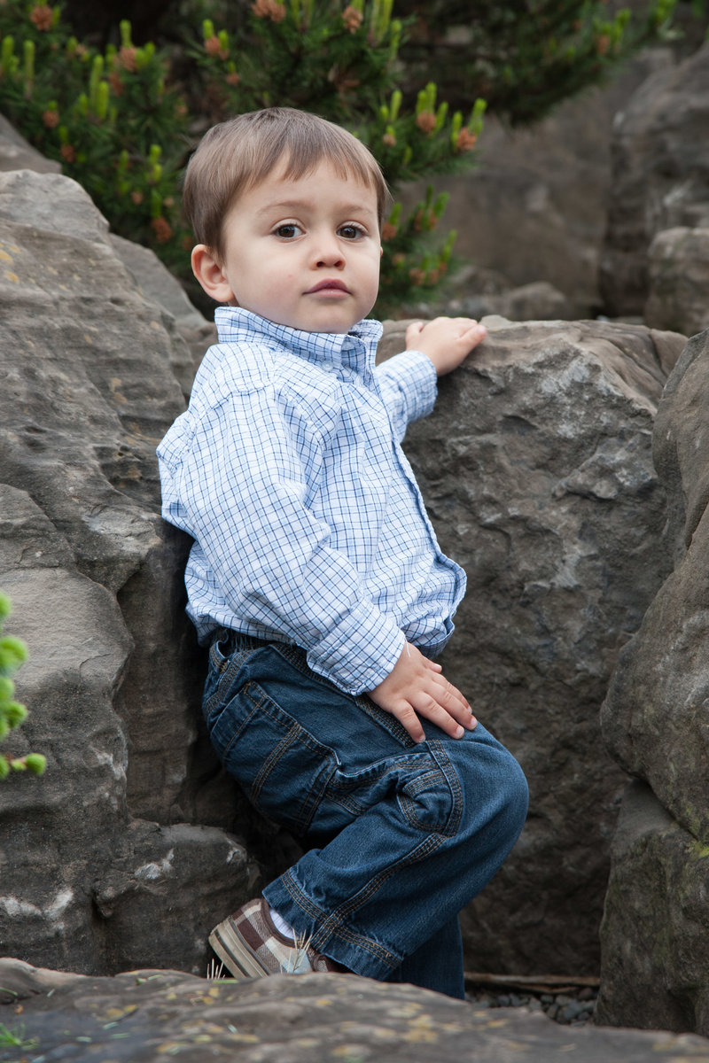 Toddler portrait on rocks at arboretum-21