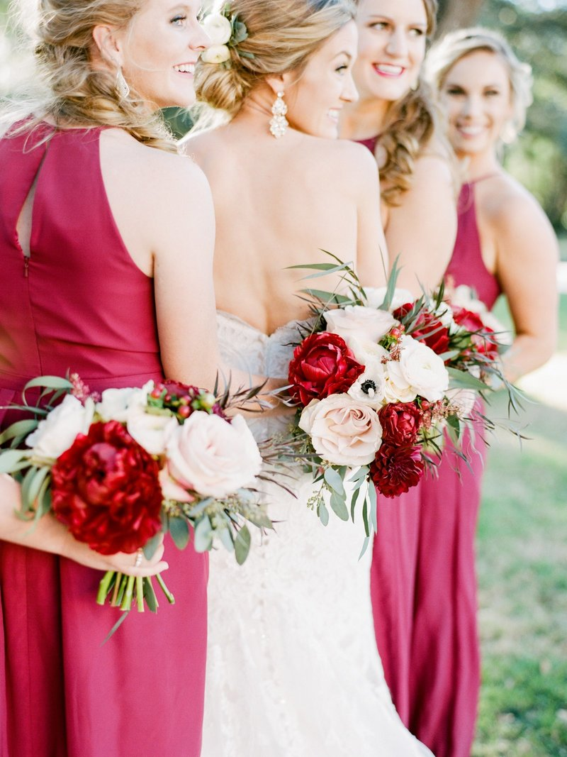 bridesmaids in burgundy dresses