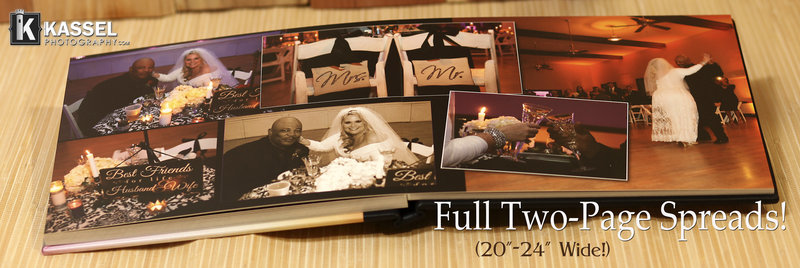 kassel photography offers Flush mount style  leatherbound wedding albums and books.