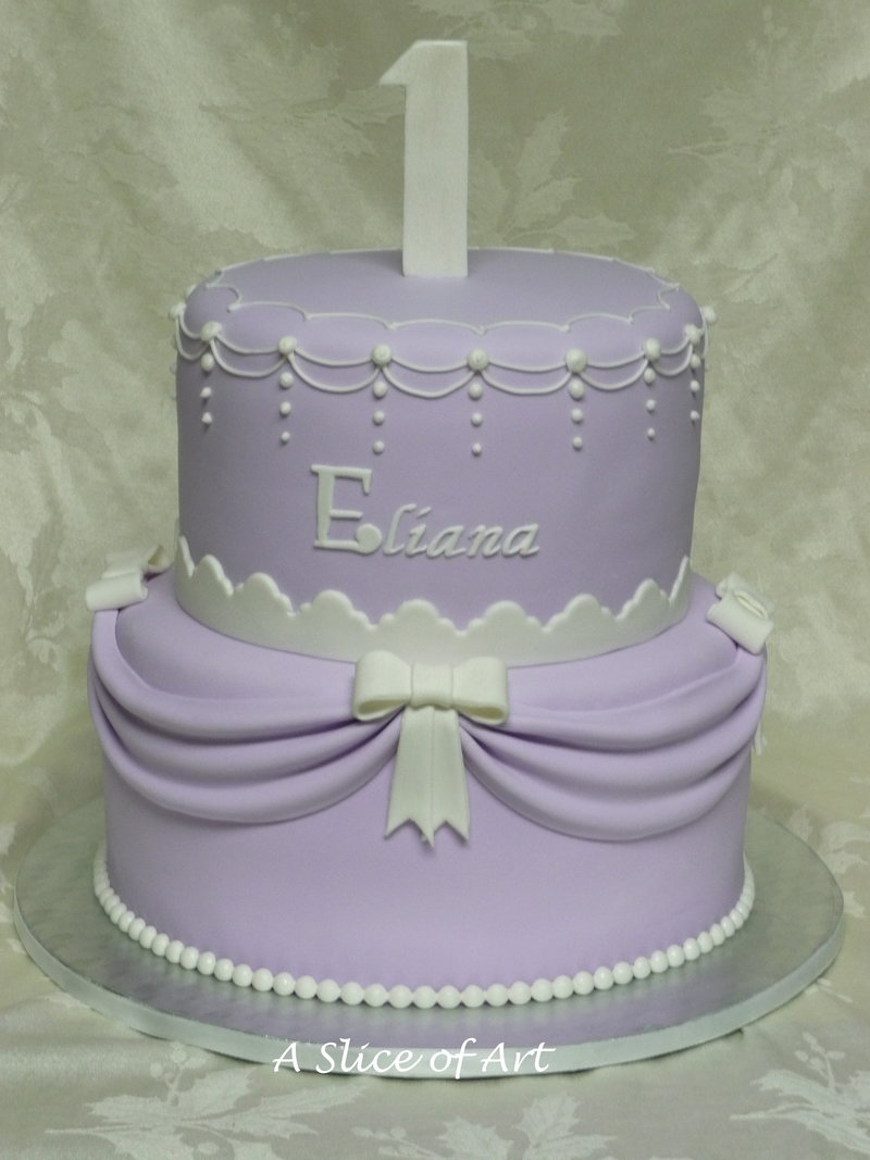 lavender swag birthday cake