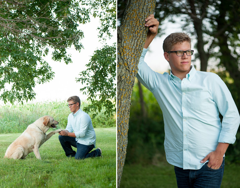 FM area senior photographers Kris Kandel loves to include pets into the senior photo shoots