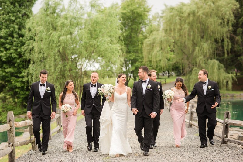 Black tie wedding bridal party