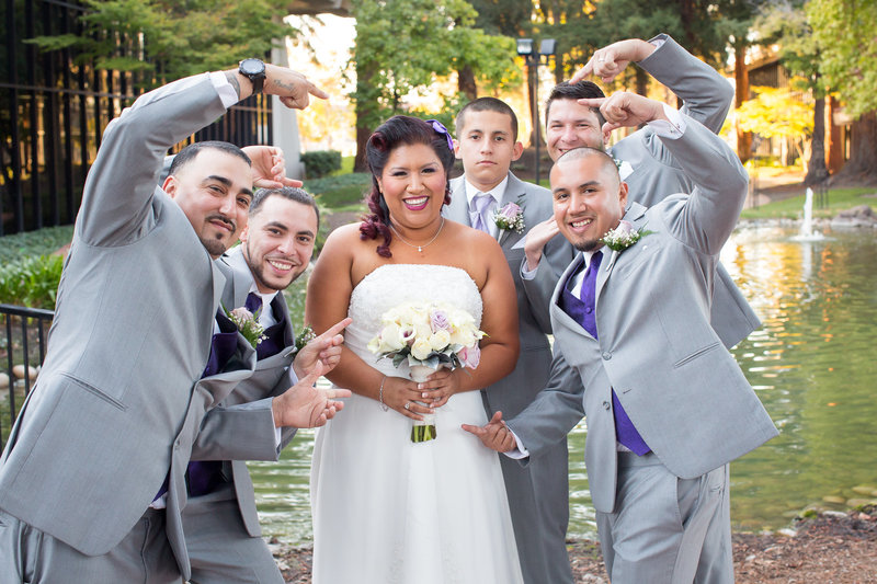 Fun Photo of Bride and Groomsmen