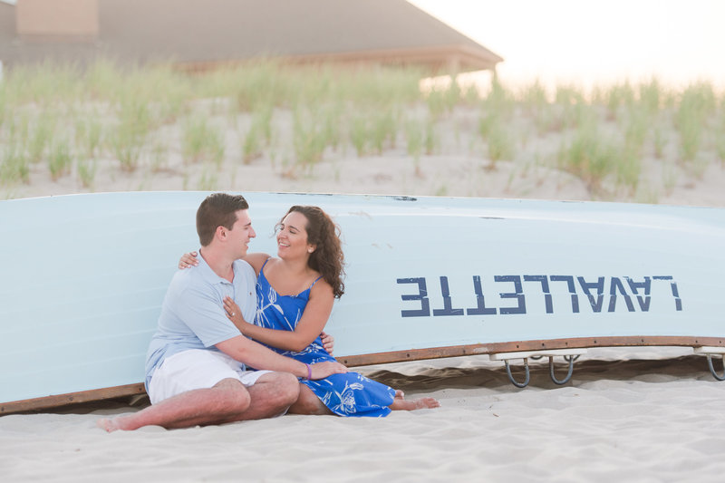 newly engaged portrait on the lavallette beach after proposal