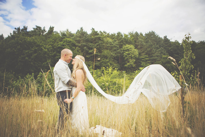 Bride and groom portrait  at the Keeper & the Dell. Brides veil was beautiful