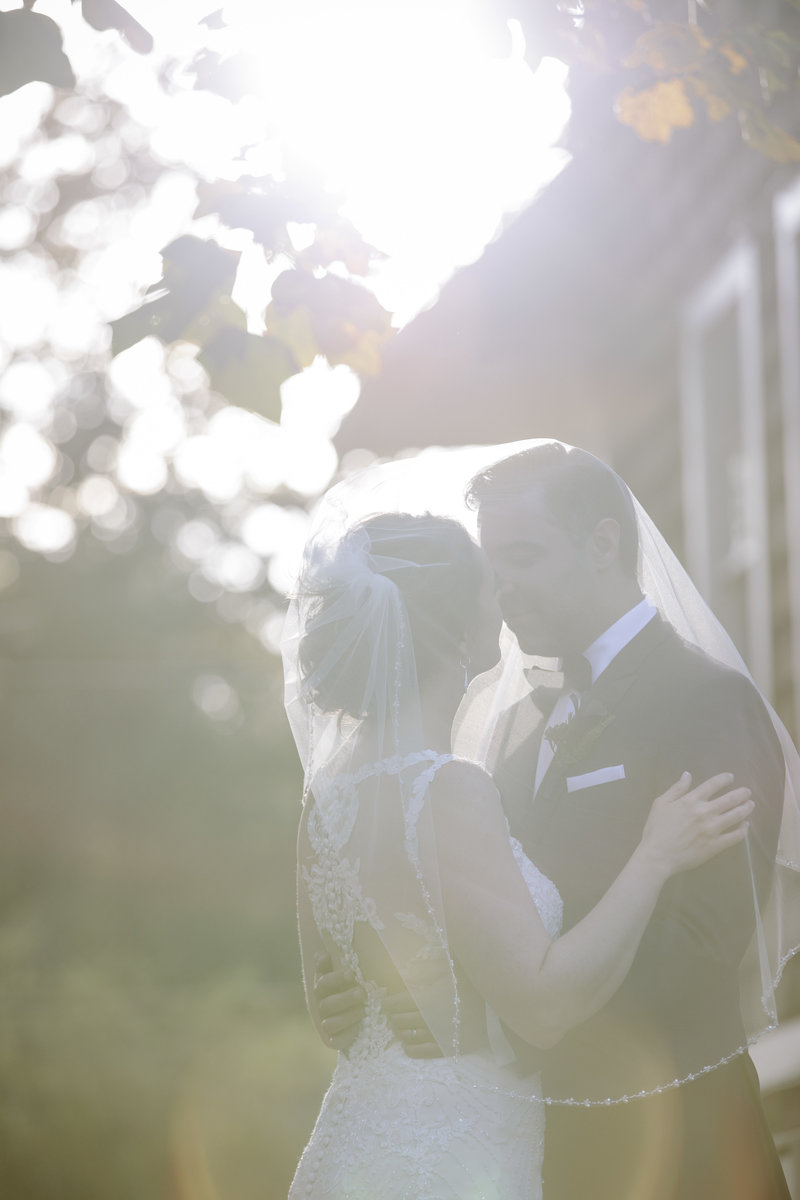 sun flared portrait of bride and groom