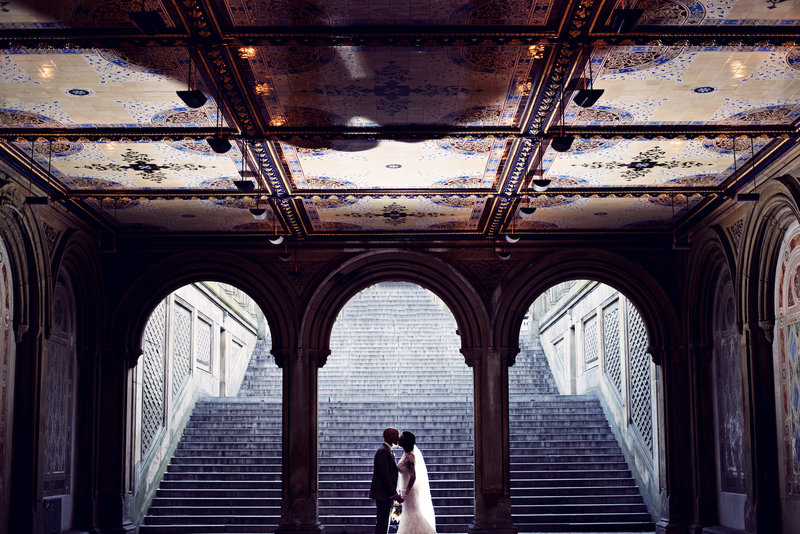 Bride and Groom under the arches in Central park New York City