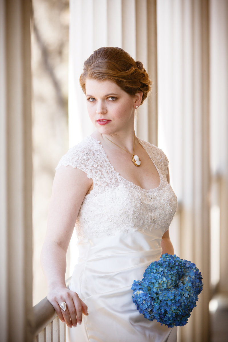 Chelsea Wallace's bridal session photo at The Fort Conde Inn, Mobile, Alabama.