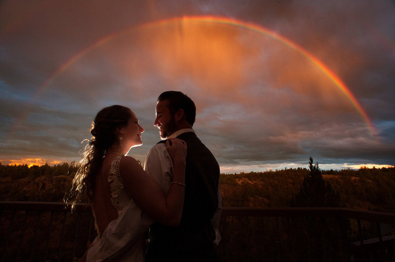 Eagle Crest wedding with a rainbow by Pete Erickson Photography.