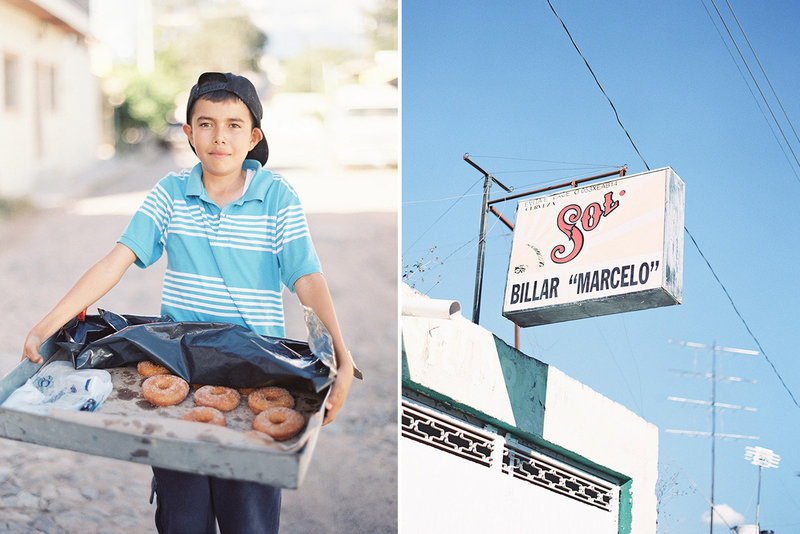 sarah hannam travel photographer mexico  boy donuts portrait sol sign