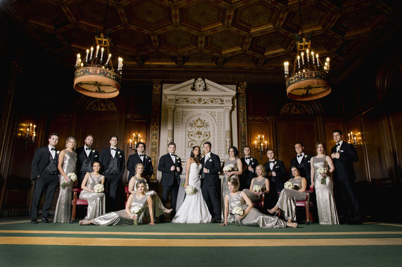 bridal party in grand hall at monmouth university