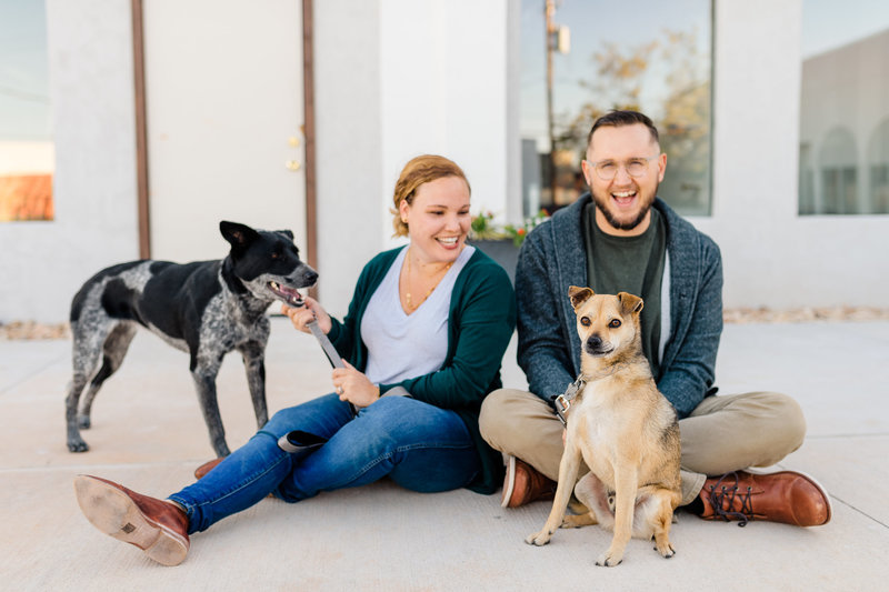 Lifestyle Family Portraits in the Paseo OKC with dogs