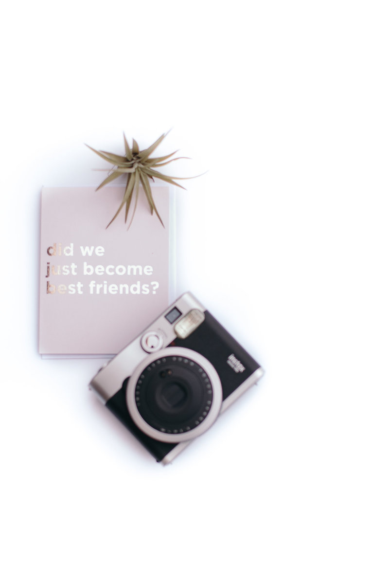 best friends card and vintage camera