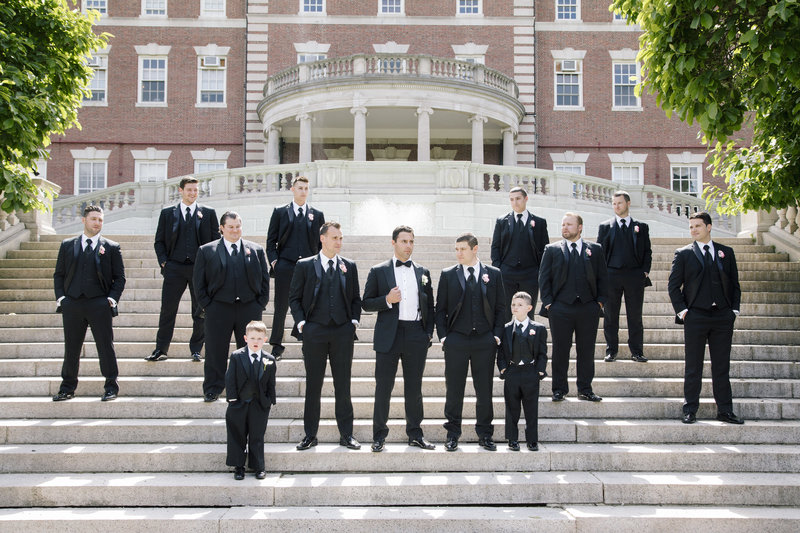 groomsmens at fairleigh dickinson university in black tuxedos