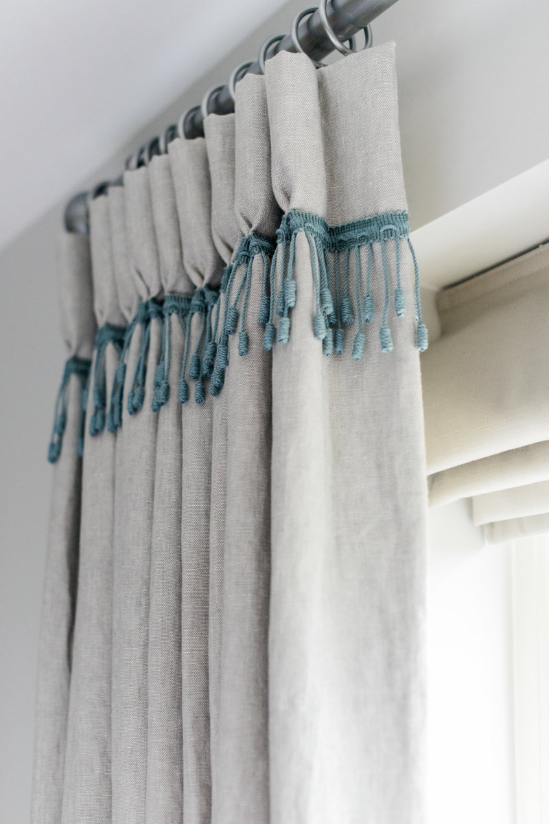 Interior details curtains beading blue accessories