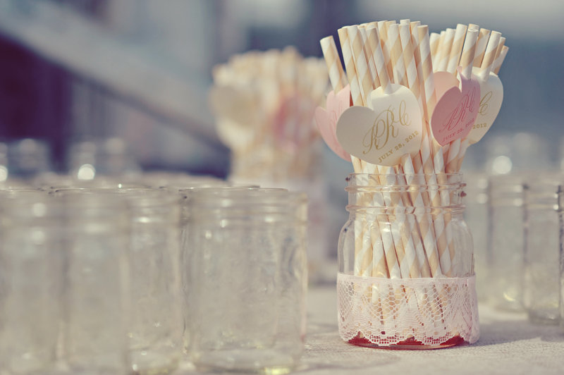 Pretty paper straws at a Calgary wedding