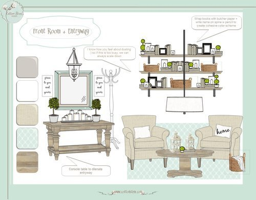 CottonStem.com edesign e-design farmhouse living room style board