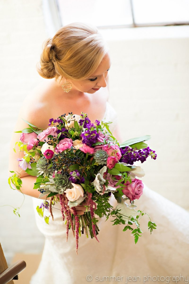 Bride with bouquet at Cheney Place