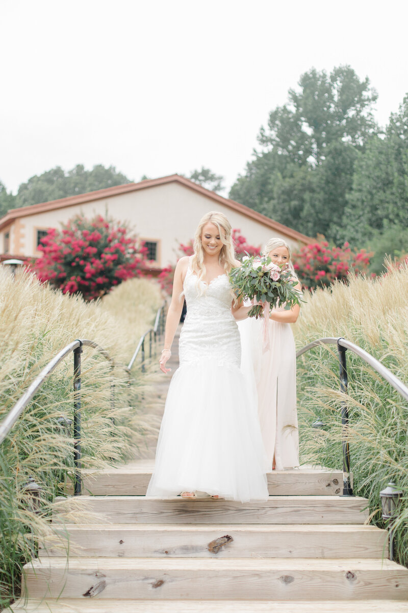 bride walking to first look at Running Hare Vineyard Wedding photographer costola photography