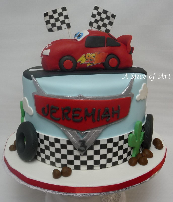 Mcqueen car themed cake