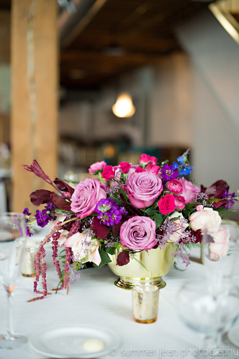 Pink Purple and Gold Centerpiece