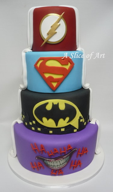 superhero wedding cake half white half superhero