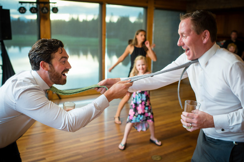 Dancing with the best man at Broken Top Club by Bend Oregon wedding photographer Pete Erickson.
