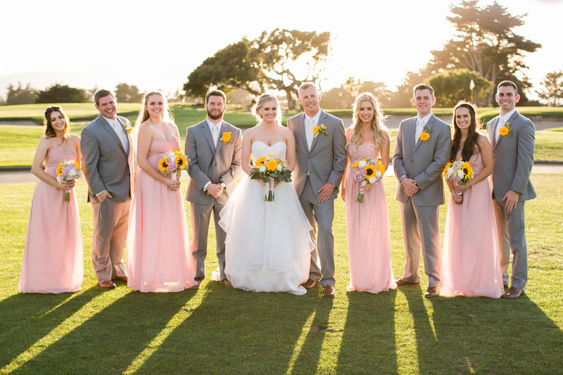 Bride and groom and their bridal party at Black Bayonet golf course in Carmel, California