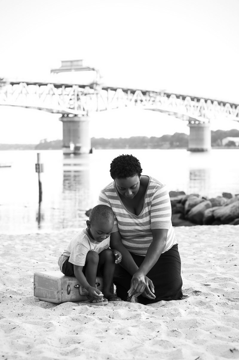Mother and Son at Yorktown Beach, Coleman Bridge