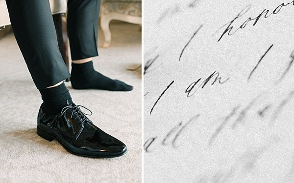 Getting ready Groom Shoes calligraphy details