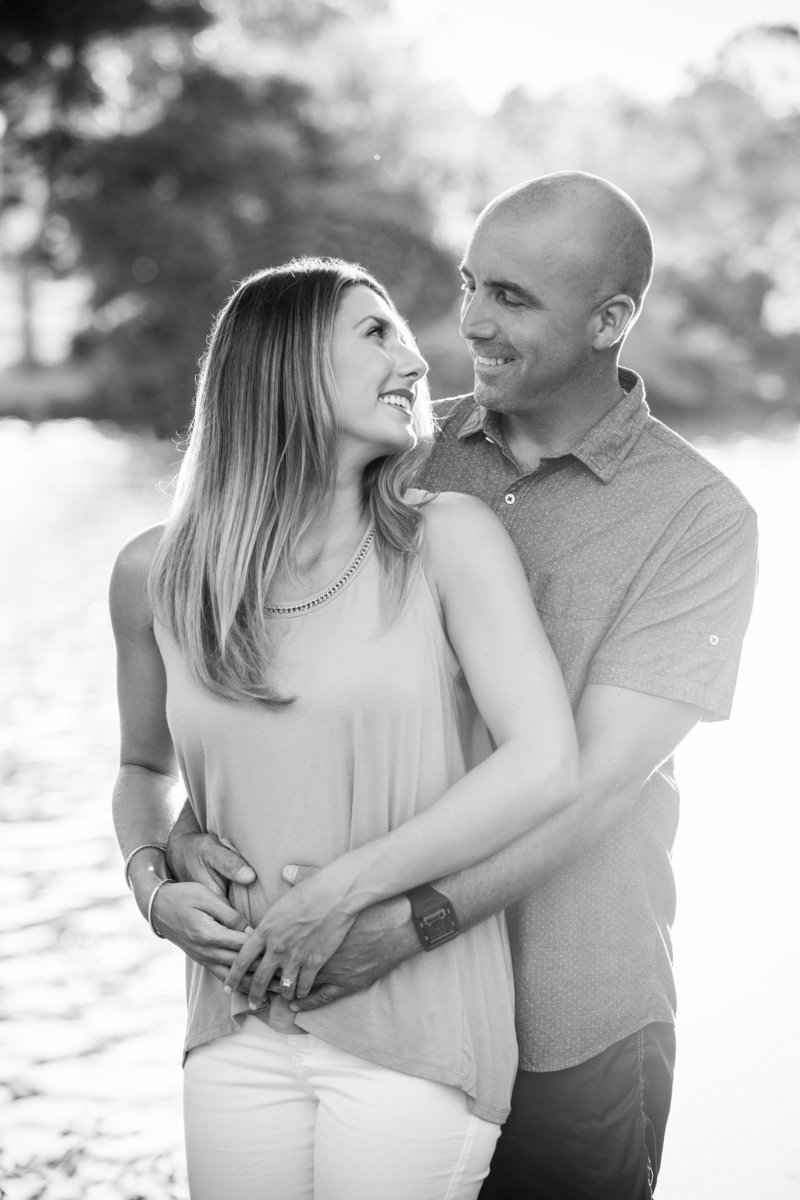 black and white of couple smiling