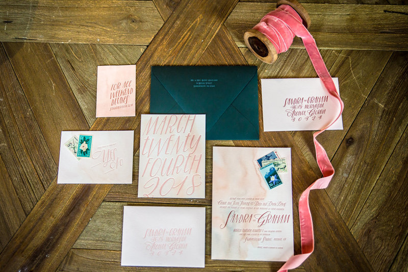Wedding invitation pink and corral style
