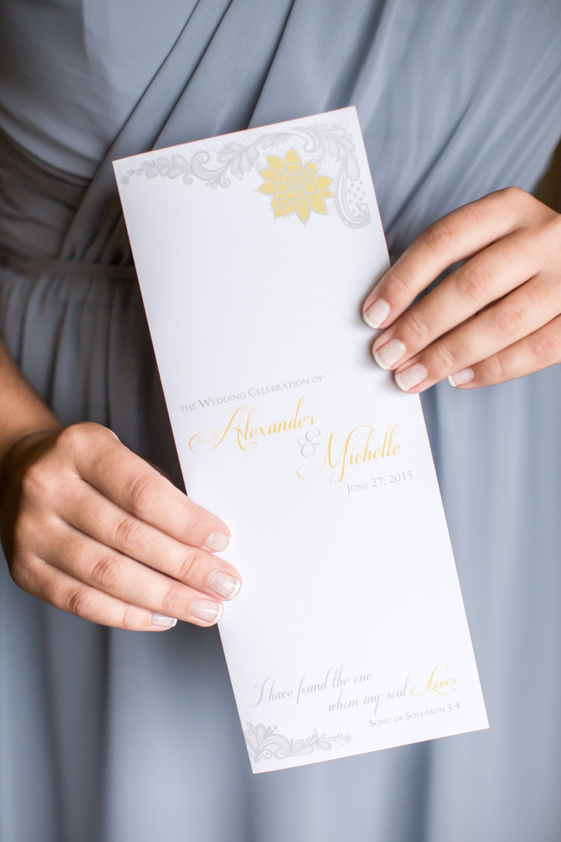 Ceremony program for yellow and gray invitation
