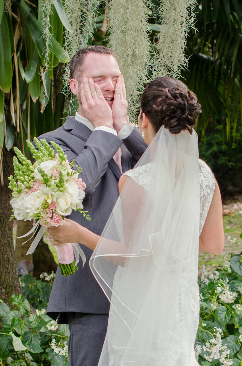 Emotional First Look between Bride and Groom at The Kampong | Miami Wedding Photographer
