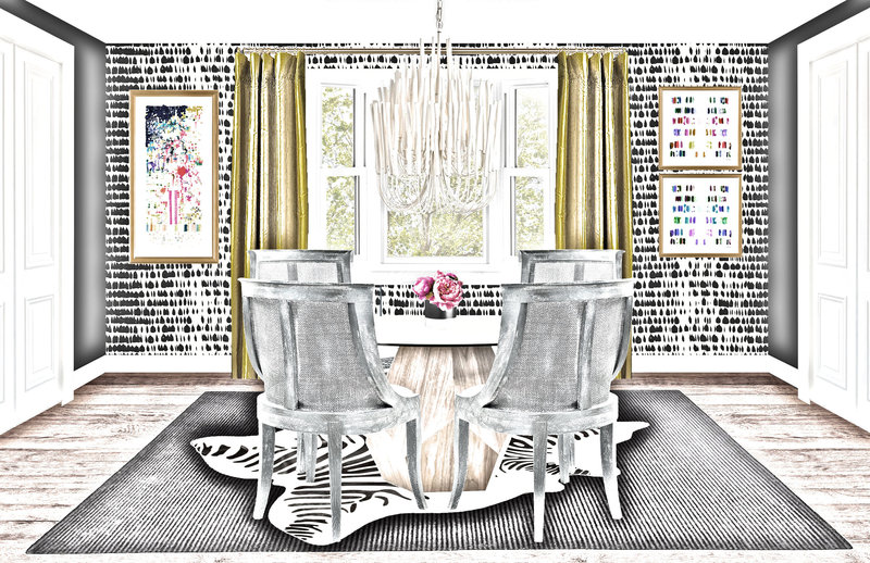 Eclectic Dining Room Sketch