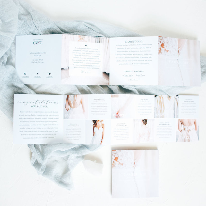 The Olivine Collective || Marketing Materials || Blush & Brush || Marketing Template for Wedding Dress Boutiques