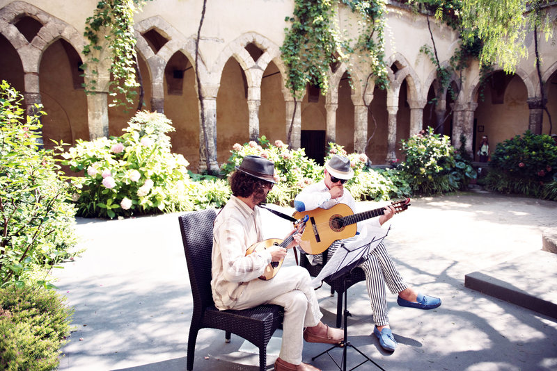 Musicians during a wedding ceremony at San Francesco Cloisters Sorrento Italy