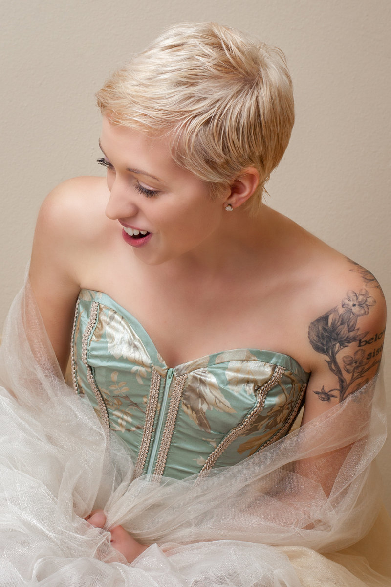 Beautiful woman in handmade tulle skirt for a tasteful boudoir session
