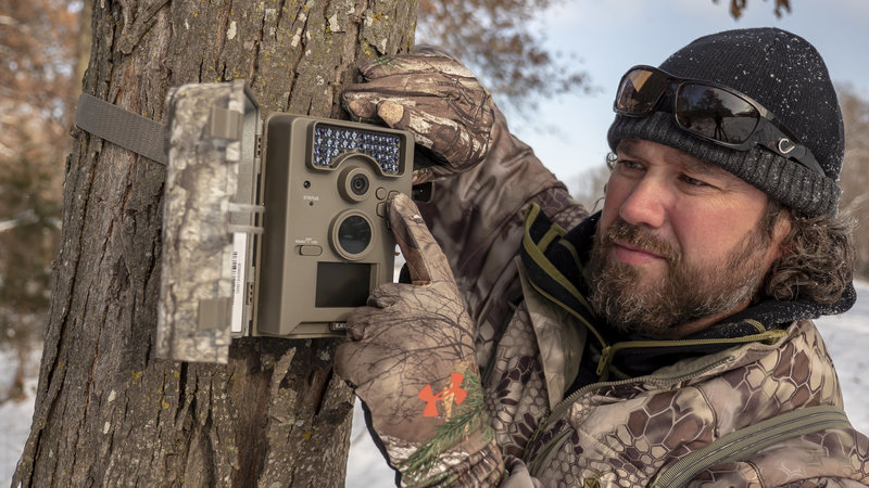 Raven 6 Studios in freezing temps while check trail camera pictures in Iowa