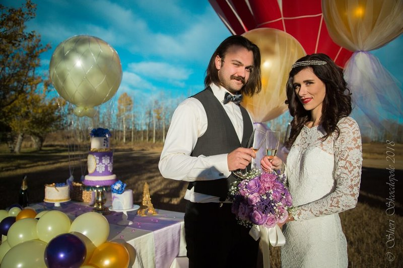 purple stenciled gold trip balloon photoshoot