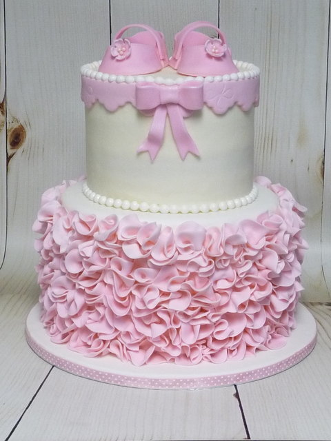 ruffle baby shower cake