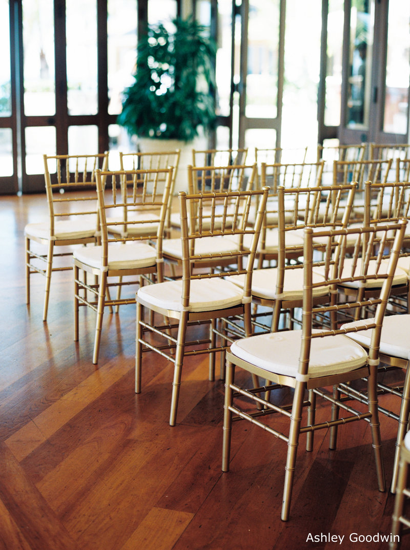 WM Halekulani Hau Terrace gold chiavari chairs