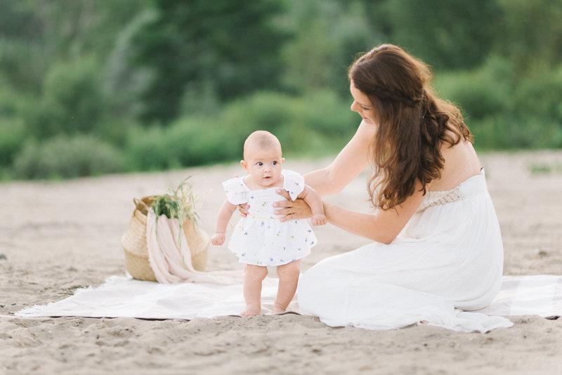 Mother and Daughter at Scarborough Bluffs Beach in Toronto. Photographed by Marissa Martine