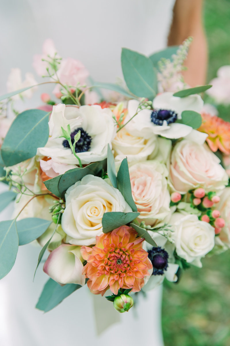 colorful wedding flowers at sea island