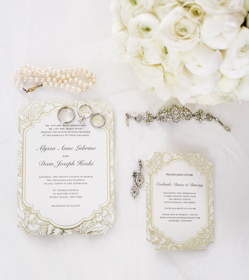 wedding details on white tbale