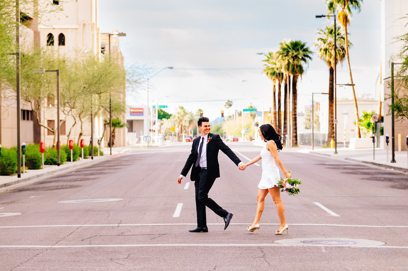 Downtown Phoenix Engagement Session - Colorful Wedding Photos - Lunabear Studios-2