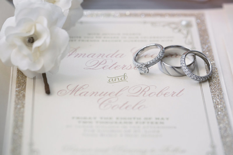 wedding invitation and wedding rings