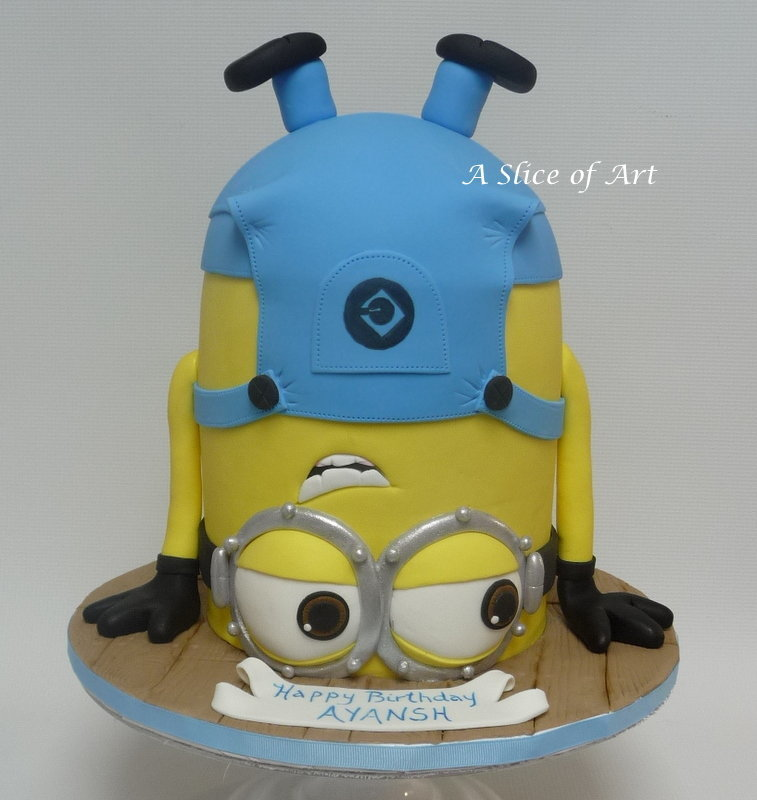 Upside down minion cake