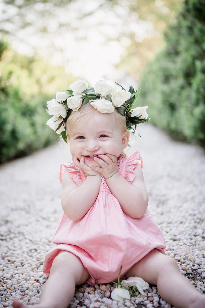Little girl in a flower crown at Baxter Gardens by Knoxville Wedding Photographer, Amanda May Photos.