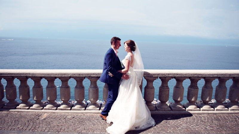 Bride and Groom on the streets of Sorrento Italy after their wedding ceremony at The RELAIS BLU Sorrento Italy
